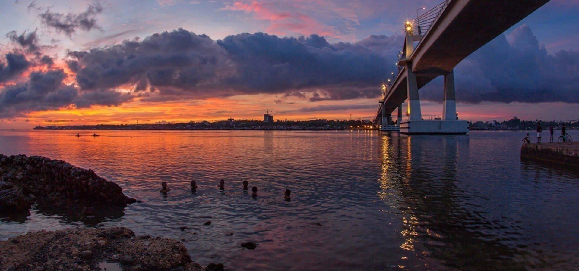 Breathtaking view of Mactan Bridge which connects Cebu City to Mactan Island